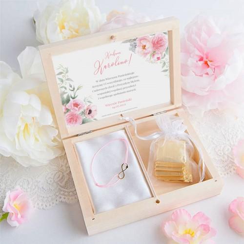 PREZENT na Panieński bransoletka POZŁACANA Zapach Piwonii