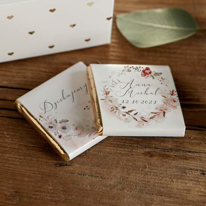 Słodkie podziękowanie dla gości weselnych w postaci mlecznych czekoladek