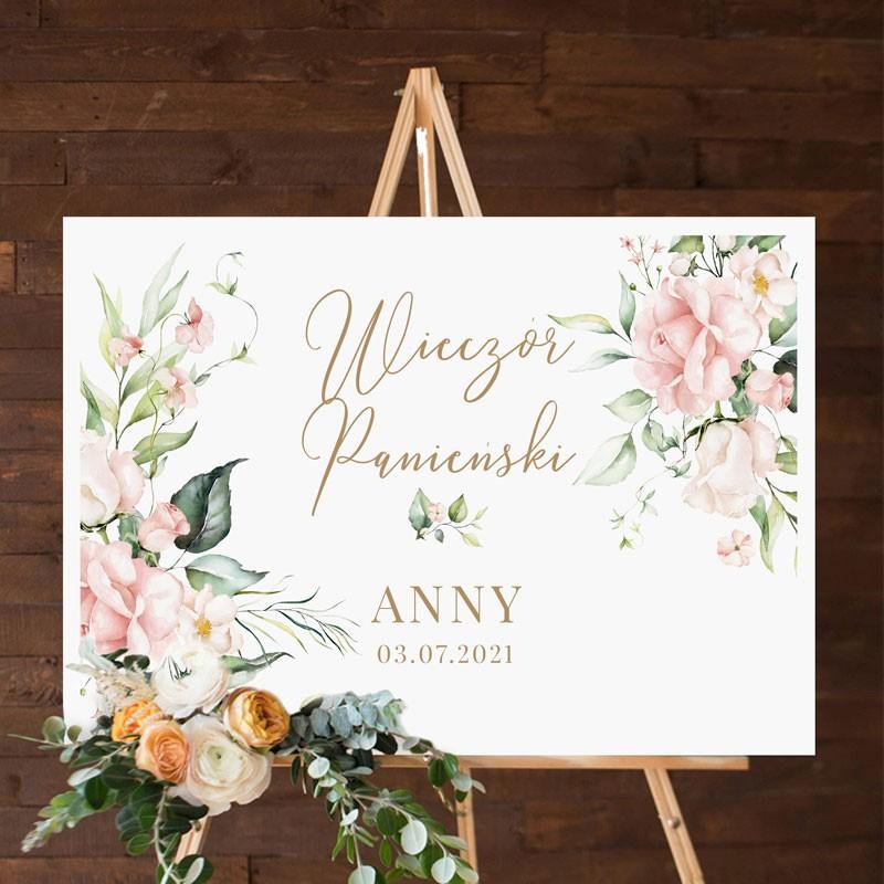 Personalizowany plakat na Wieczór Panieński z grafiką Pudrowych Kwiatów