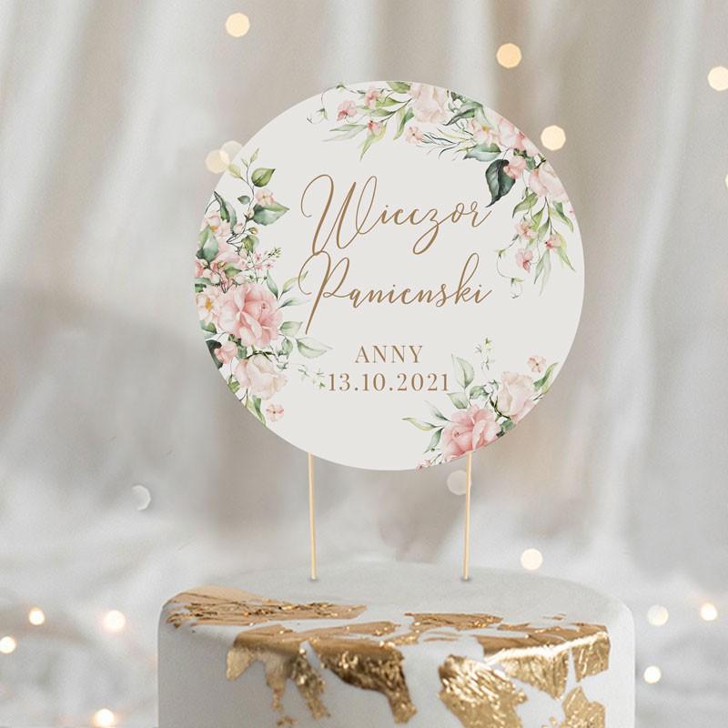 Topper na tort z personalizacją i grafiką Pudrowych Kwiatów