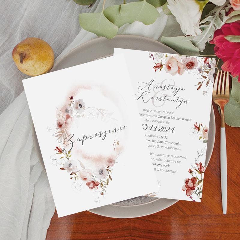 Dwustronne zaproszenia ślubne z jesiennym motywem