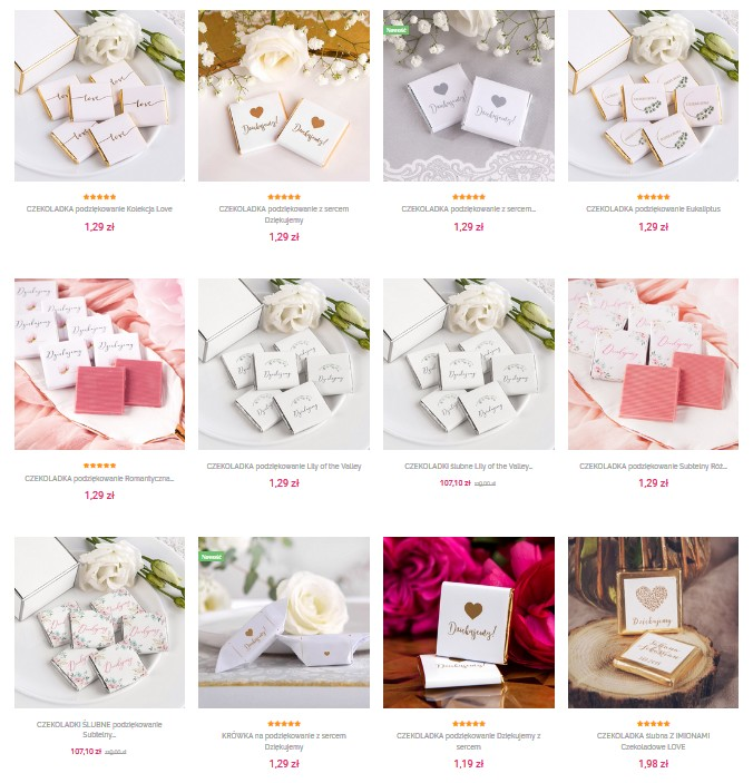 podziękowania dla gości weselnych - mleczne czekoladki ślubne